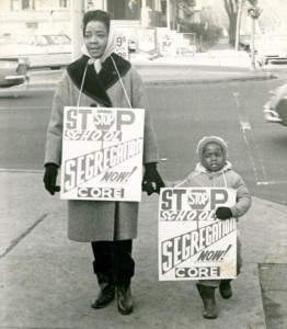 Woman and child protest school segregation. Courtesy Wisconsin Historical Society