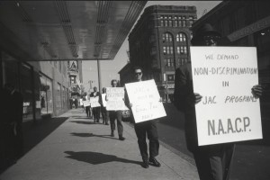 NAACP picketers outside the Schroeder Hotel. Courtesy Wisconsin Historical Society