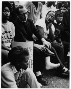 Members of Milwaukee NAACP Youth Council with James Groppi. Courtesy Wisconsin Historical Society