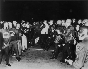 Face-off between Police and NAACP members. Courtesy Wisconsin Historical Society