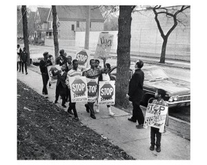 Protest against school segregation, with James Groppi. Courtesy Wisconsin Historical Society