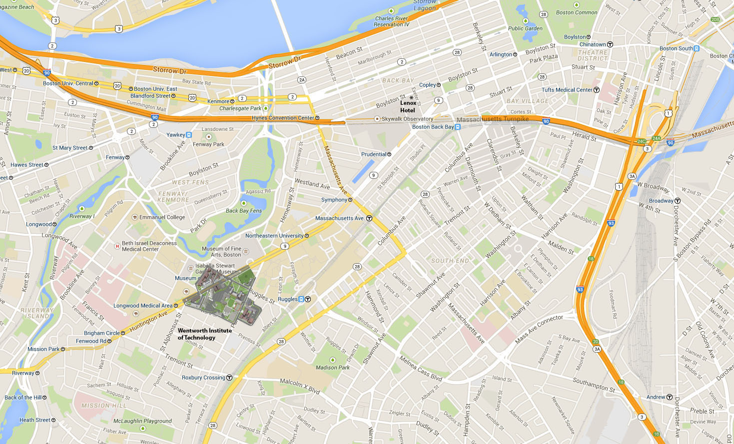 NEH Map of Boston with Hotel and WIT