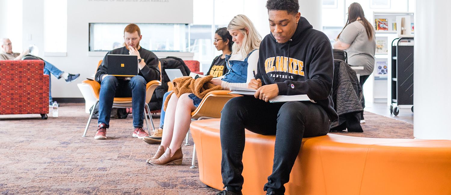 UWM students studying at a local library.