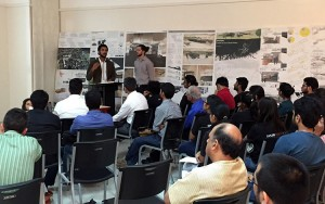 UWM School of Architecture and Urban Planning students Nick Bree and Sisco Hollard present at the SARUP @ Chandigarh Exhibit Opening Symposium on Sept. 28, 2015.