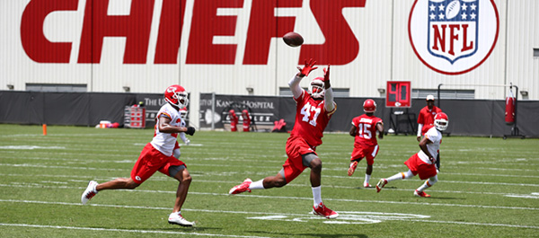 From rebounds to receptions. Panther cager Demetrius Harris (47) has made the Kansas City Chiefs' team as a tight end.