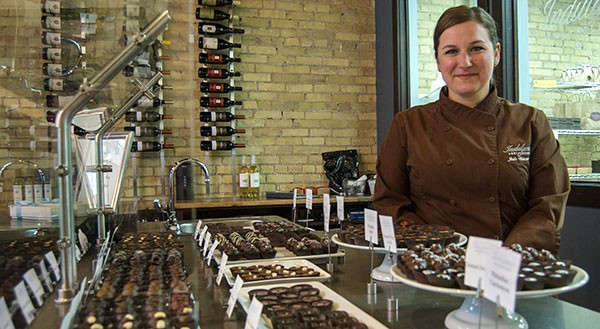 UWM alumna Julie Waterman has turned her passion for chocolate into a thriving and growing business, with stores in Shorewood and Milwaukee's Walker's Point neighborhood. (Photo by Kenny Yoo)