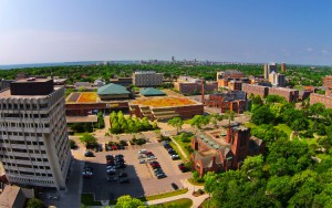 UWM's campus is small enough to get around in 10 minutes, yet big enough to meet new people. (UWM Photo/Derek Rickert)