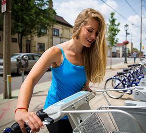 By fall '15, six Bublr Bikes lending stations will be based at UWM. Students can access the bikes on campus, but return them at other Bublr Bikes stations in Milwaukee, like this one on Brady Street.