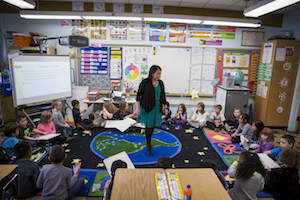 Mai Xiong's classroom at the Academy of Accelerated Learning, where she hopes to inspire her diverse group of students. (UWM Photo/Derek Rickert)