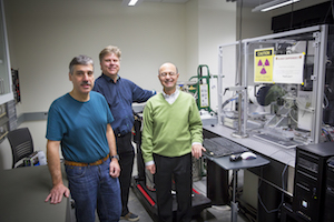 UWM physics faculty members Peter Schwander (left), Marius Schmidt (center) and Abbas Ourmazd contributed to the groundbreaking experiment. (UWM Photo/Troye Fox)