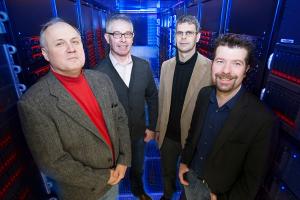 UWM LIGO researchers (left to right) Alan Wiseman, Patrick Brady, Jolien Creighton and Xavier Siemens. (UWM Photo/Pete Amland)