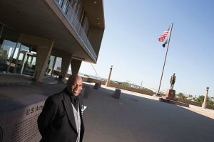 Kevin Evans at the Milwaukee County War Memorial Center. (UWM Photo/Troye Fox)