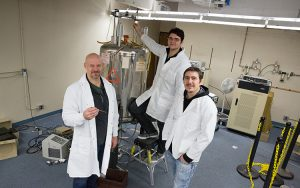 grant that will fund replacement of a vital piece of equipment in Chemistry and other departments. We'll shoot Prof. Graham Moran and 2 of his students using the old machine