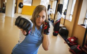 Professional MMA fighter Leah Letson competed the night before she graduated from UWM. (UWM Photo/Derek Rickert)