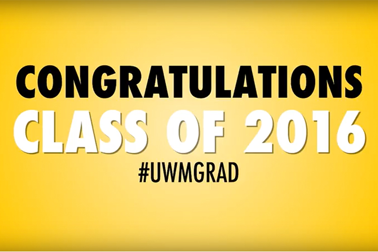 "Yellow backdrop with words ""Congratulations Class of 2016 #uwmgrad"""