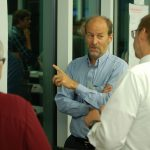Steve Visuri, president and CEO at FloraSeq, works with I-Corps participants. (UWM Photo)