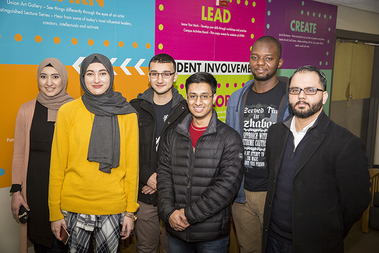 Members of the executive board of the Muslim Student Association, which helped organize Kareem Abdul-Jabbar's visit to Milwaukee, include (from left); Breeha Shah, Ala Abdeljaber, Omar Saleh, Osama Choudhry, Oluwatobi Amida and Imran Salha, religious adviser. (UWM Photo/Derek Rickert)
