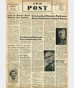 The first issue of the UWM Post was published Sept. 26, 1956, the day after the school officially became a university.