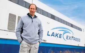 Harvey Bootsma stands by the Lake Express ferry.