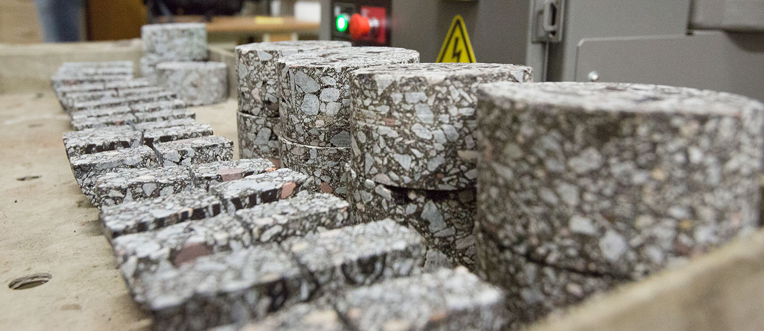 Blocks of concrete in a lab.
