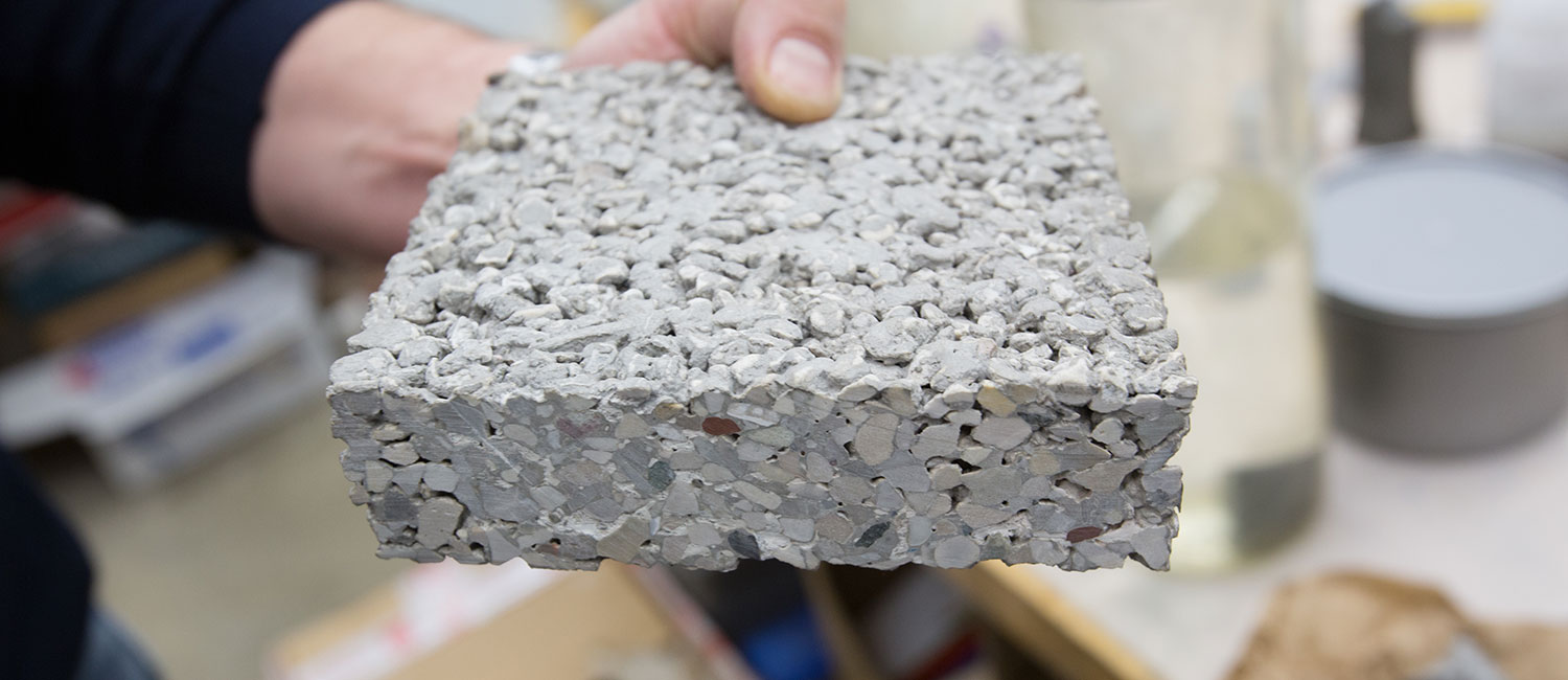 A block of concrete in production.