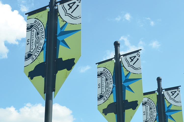 Banners mark the old Wisconsin Route 41.