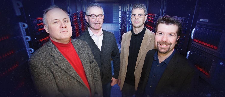 UWM LIGO researchers Alan Wiseman, Patrick Brady, Jolien Creighton and Xavier Siemens.