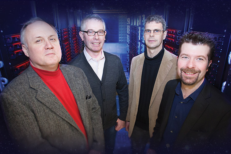 UWM LIGO researchers (from left) Alan Wiseman, Patrick Brady, Jolien Creighton and Xavier Siemens.