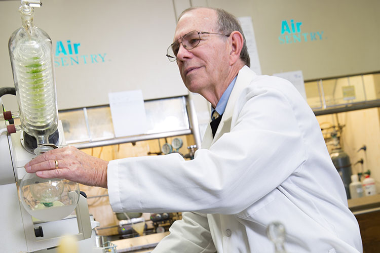 Jim Cook in one of UWM's drug labs.