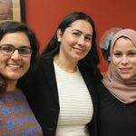 Salma Abadin (from left), Tatiana Maida and Alaa Murabit discussed global and local perspectives on peace, stability, justice and health at a panel discussion held in the American Geographical Society Library. (UWM Photo/Greg Walz-Chojnacki)