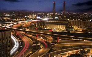 Photo of traffic at night.