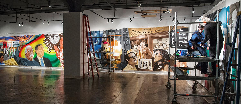 A mural hangs in a studio at UWM