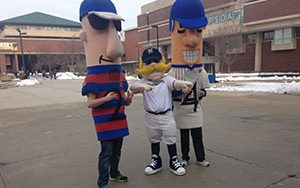 Brewers mascots stand in Spaights Plaza at UWM.