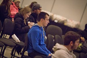 Fans listen to baseball talk at the hot stove event at the Union. (UWM Photo/Derek Rickert)