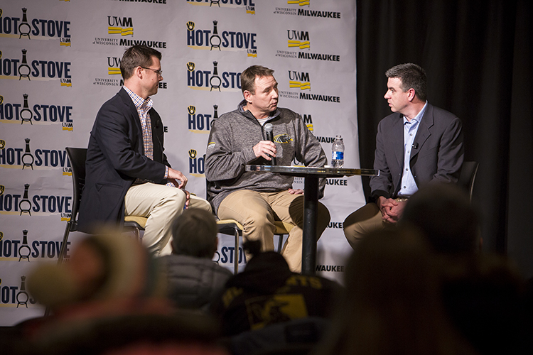 UWM head baseball coach Scott Doffek (center) talks baseball with Milwaukee Brewers radio announcers Jeff Levering (left) and Lane Grindle at the UWM Student Union. (UWM Photo/Derek Rickert)
