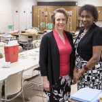 Jennifer Doering (left), UWM associate professor of nursing, and Jennifer Kibicho, assistant professor, are key players in a new service that expands access to mental health treatment for pregnant women and new mothers. (UWM Photo/Derek Rickert)