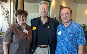 Chancellor Mark Mone poses with Marjorie Krizek and UWM Foundation Board of Trustees member Ron Krizek. The Krizeks have established scholarships for students in accounting and finance. (Contributed Photo)
