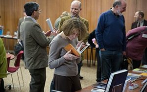 Faculty and staff gathered to celebrate books recently published by UWM authors . (UWM Photo/Troye Fox)
