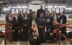 Kareem Abdul-Jabbar and members of the UWM Muslim Student Association visited the UW-Milwaukee Panther Arena, the home of the Milwaukee Bucks when Abdul-Jabbar played in Milwaukee. (UWM Photo/Troye Fox)