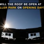 """The sun peaks through the opening roof at Miller Park. Text over the photo reads """"Will the roof be open at Miller Park on Opening Day?"""""""