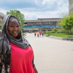 Jameelah A. Love stands near Spaights Plaza on the campus of UWM.