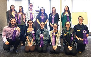 Office of Undergraduate Research symposium winners pose with their ribbons. (Submitted photo)