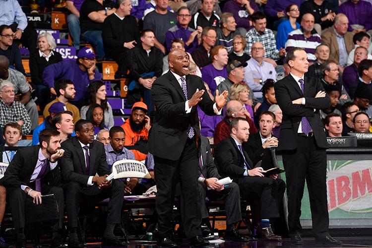 Photo of Pat Baldwin coaching basketball at Northwestern.
