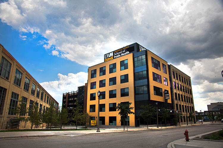 Photo shows the exterior of the Zilber School of Public Health at UWM.
