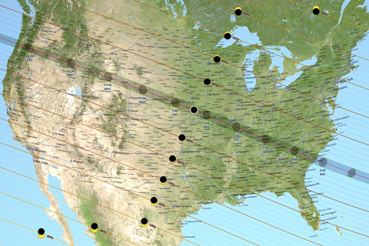 lines across a map of the u s show the path of the moon s shadow