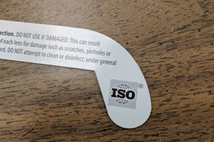 A closeup view of the ISO label on a pair of solar eclipse-viewing glasses.