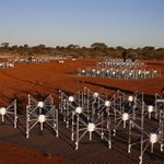 Antennas sit on the ground in Australia.