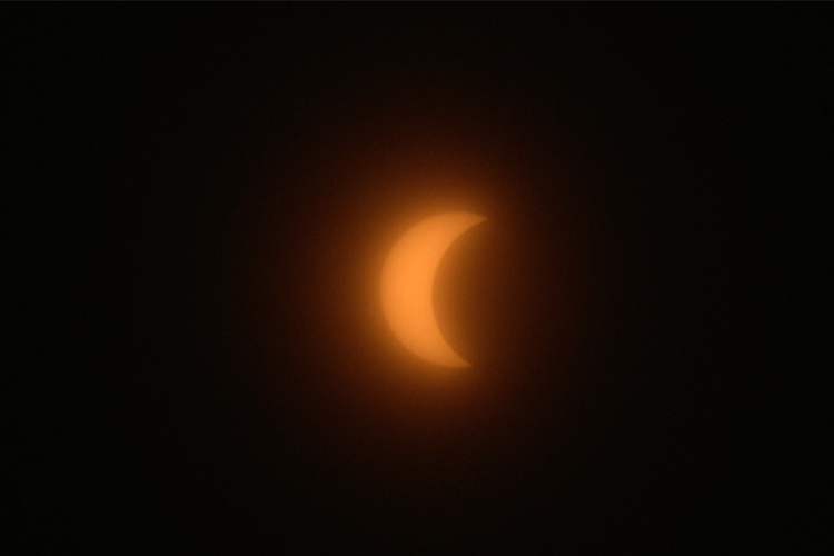 The eclipse as seen from UWM's campus