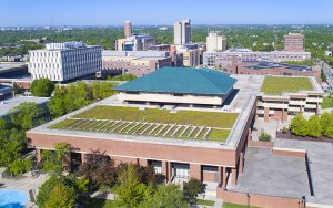 An aerial photo shows the roof of Golda Meir Library.