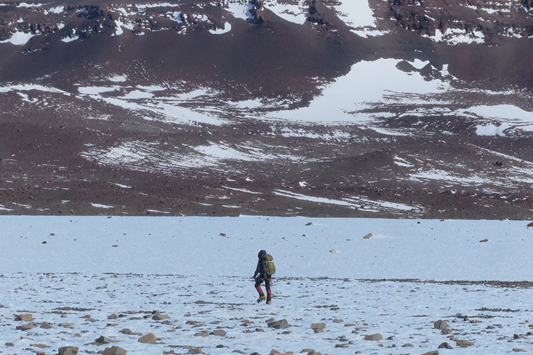 A researcher treks across a field in Antarctica.